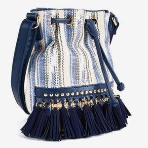 Sondra Roberts Squared Tassel Bucket Bag in blue